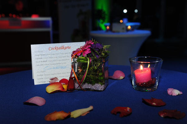 Floristik, Dekoration Geburtstag, Kerzen, Ambiente, wohlfühlen und relaxen, Cocktail, Cocktail trinken