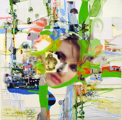 Trini en el Jardín (collage 1mt x 1mt)