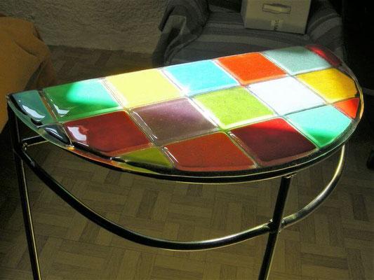 console avec plateau en verre