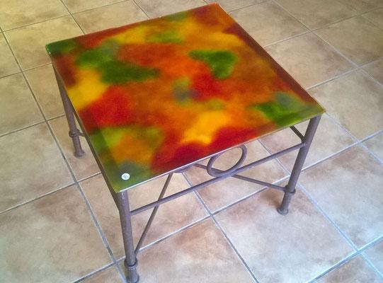 table basse Carrée - plateau en verre pied en ferronnerie