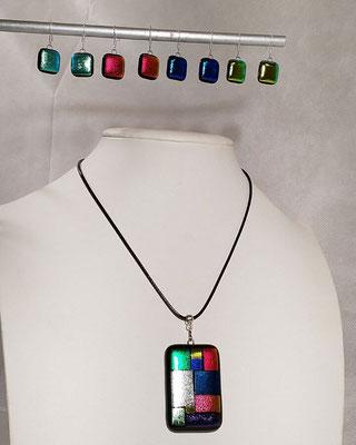 pendentif verre coloré