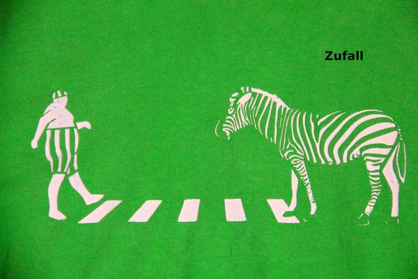 T-Shirt Motiv Zufall (Zebra). Klimaneutral, fair und bioologisch produziertes Textil