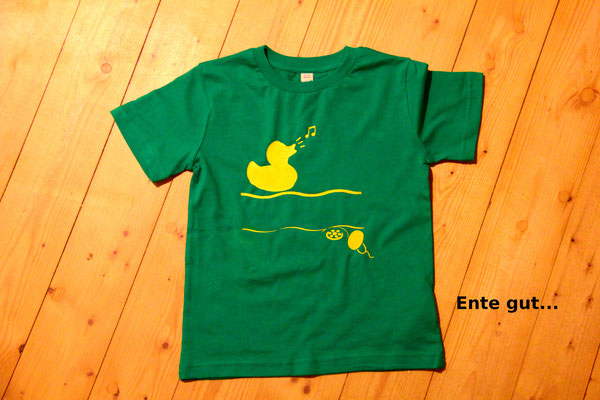 T-Shirt Motiv Ente gut... (Ente in Badewanne).  Klimaneutral, fair und bioologisch produziertes Textil