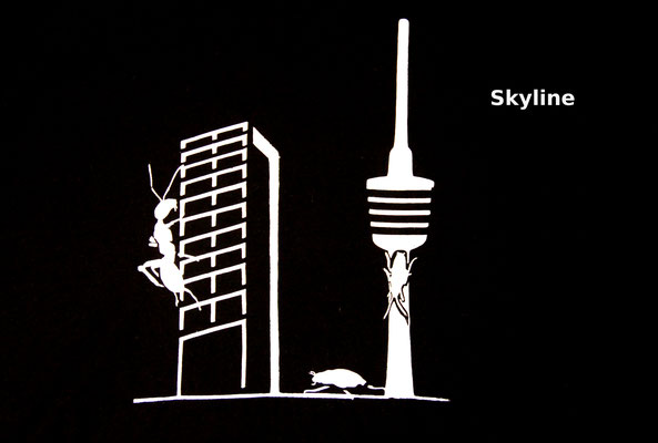 T-Shirt Motiv Skyline (Science Fiction in Stuttgart). Klimaneutral, fair und bioologisch produziertes Textil