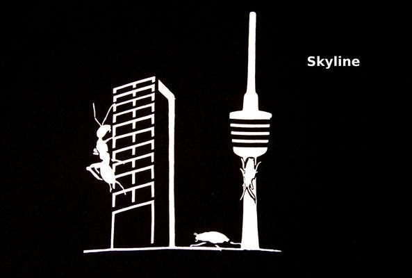 T-Shirt Motiv Skyline (Science Fiction in Stuttgart). Klimaneutral, fair und bioologisch produziertes Textil