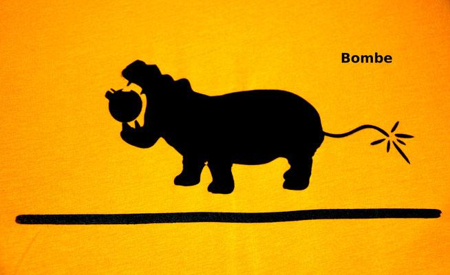 T-Shirt Motiv Bombe (Nilpferd mit Zeitzünder).  Klimaneutral, fair und bioologisch produziertes Textil