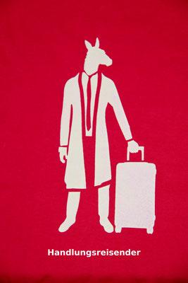 T-Shirt Motiv Geschäftsreise (Esel auf Reise).  Klimaneutral, fair und bioologisch produziertes Textil