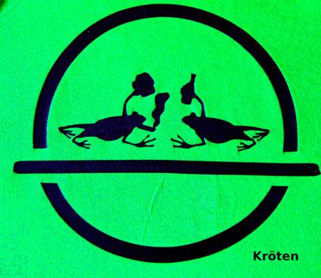 T-Shirt Motiv Kröten (Feiernde Lurche).  Klimaneutral, fair und bioologisch produziertes Textil