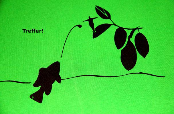 T-Shirt Motiv Treffer! (Schützenfisch). Klimaneutral, fair und bioologisch produziertes Textil