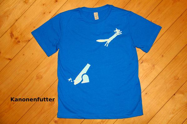 T-Shirt Motiv Kanonenfutter (Eichhörnchen und Kanone).  Klimaneutral, fair und bioologisch produziertes Textil