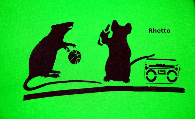 T-Shirt Motiv Rhetto (Ratten beim Baseball). Klimaneutral, fair und bioologisch produziertes Textil