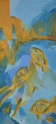 Sonnenbarsche, 87 x 40 cm. öl auf Leinwand. 1200 CHF.