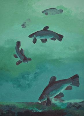 Schleie im See, 105 x 77 cm. öl auf Leinwand. 2100 CHF.
