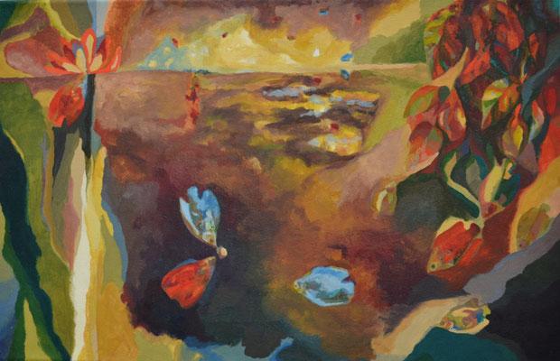 Fadenfische, 39 x 60 cm. öl auf Leinwand. 700 CHF.