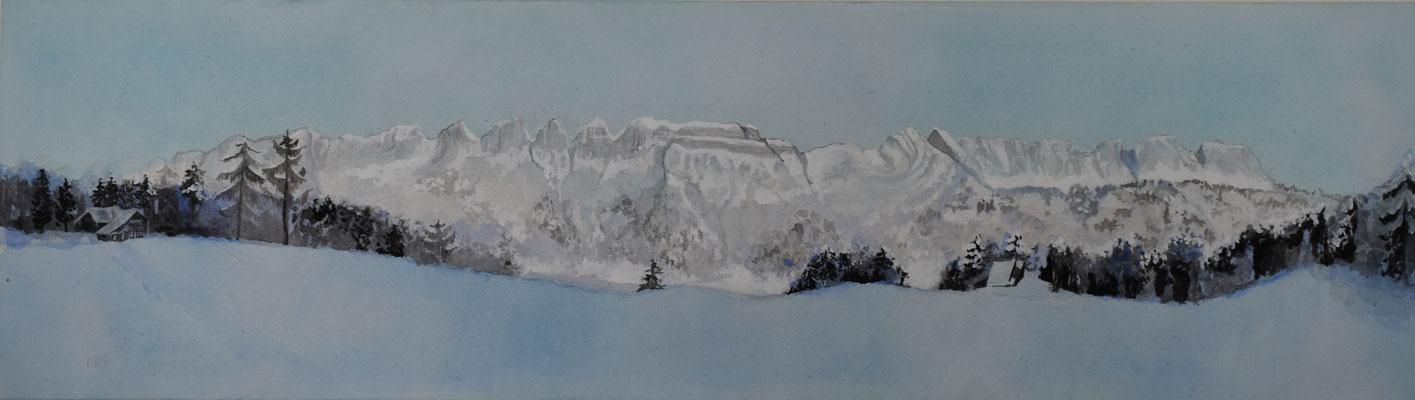 Flumser-Berge, 37 x 130 cm. öl auf Leinwand. 1800 CHF. (verkauft)