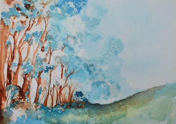 Wald mit Wolken, 50 x 70 cm. öl und Strukturpaste auf Leinwand. 500 CHF.