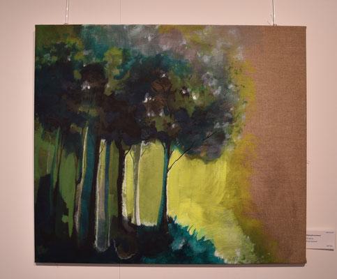 Wald gelb leuchtend. 70 x 80cm. öl auf Leinwand 550 CHF.