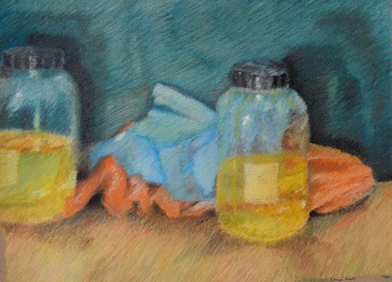 Stilleben Gläser & Tücher, 42,5 x 52,5 cm.