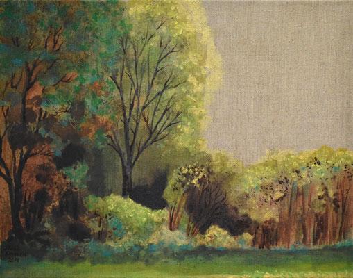 43 x 55 cm. öl auf (Natur braun) Leinwand. (Verkauft)