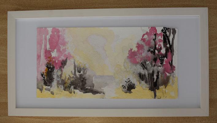 Hecke Pink, 15 x 30 cm. öl auf Papier. 150 CHF. Mit Bilderrahmen.