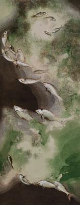 Fische Grün & Braun. 150 x 60 cm. öl und Strukturpaste auf Leinwand. 1500 CHF.