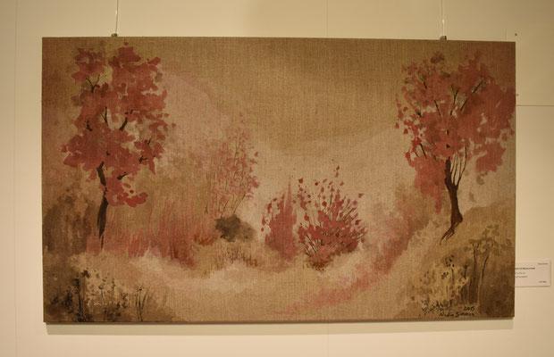 Nebel mit Bäume in pink. 59,5 x 101 cm. Öl auf Leinwand. 800 CHF.