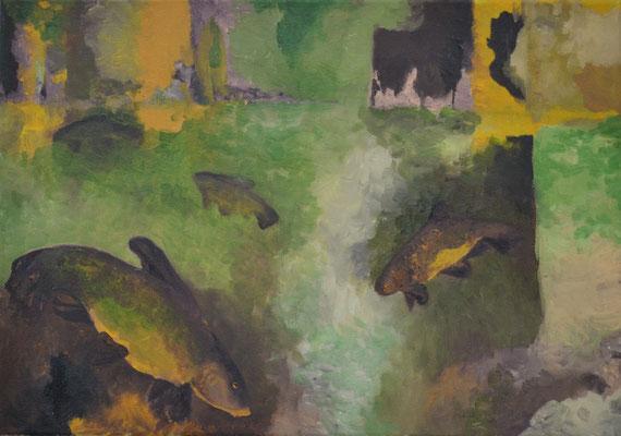 Schleie im Weiher, 35 x 50 cm. öl auf Leinwand. 600 CHF.