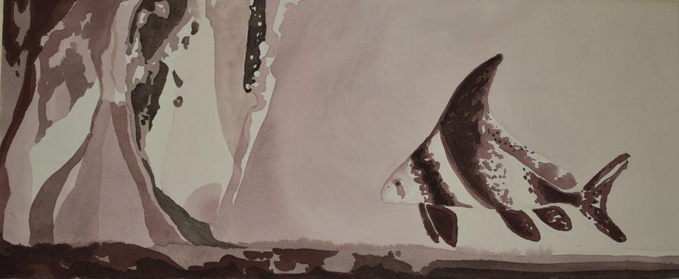 Wimpelkarpfen, 34 x 83 cm. öl auf Leinwand. 600 CHF.