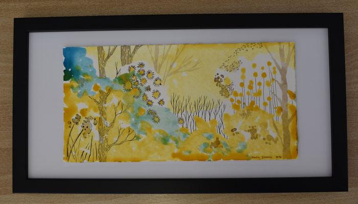 Hecke Gelb, 15 x 30 cm. Tusche auf Papier. 150 CHF. Mit Bilderrahmen.