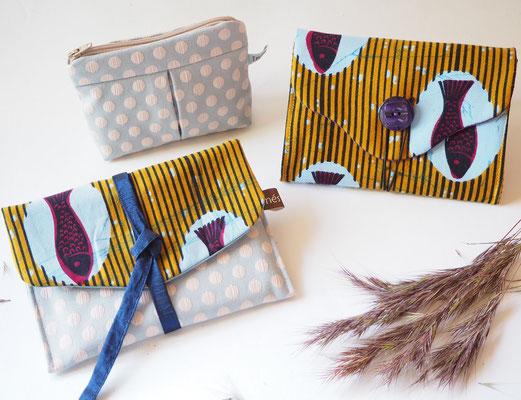 pochette portefeuille porte-monnaie en tissu creation textile Ines Cano