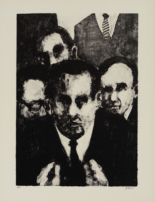 FIVE MEN IN SUITS (1965) - STONE LITHOGRAPH - PRINTER: KENNETH TYLER (TAMARIND L.A.)