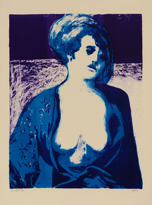 LADY IN VIOLET AND BLUE (1967) - STONE LITHOGRAPH - PRINTER: KENNETH TYLER (TAMARIND L.A.)