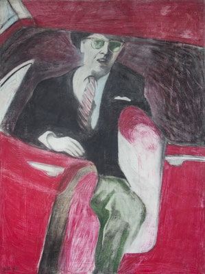 MAN IN CAR (1962) - CRAYON ON BOARD