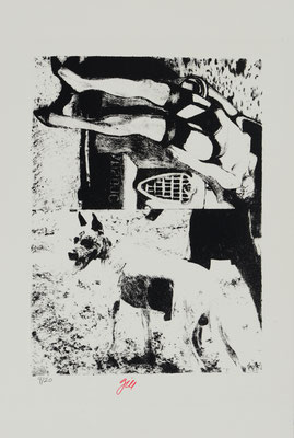 HORRORS OF PEACE - GIRL AND GREAT DANE (1965)  - ENGRAVING