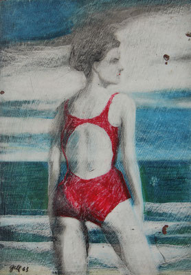 WOMAN AT THE BEACH (1963) - CRAYON ON BOARD