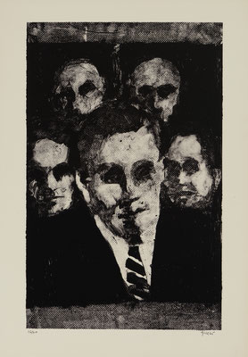 FIVE MEN (1965) - STONE LITHOGRAPH - PRINTER: KENNETH TYLER (TAMARIND L.A.)