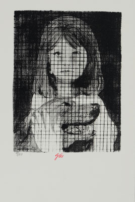 HORRORS OF PEACE - GIRL AND DOG (1965)  - ENGRAVING