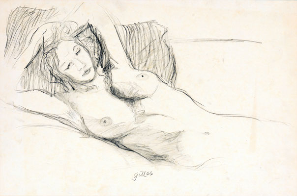 NUDE ON SOFA (1965) - PENCIL ON PAPER