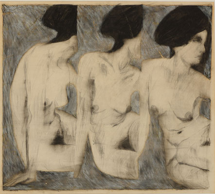 TRIPLE NUDE (1964) - CRAYON ON PAPER