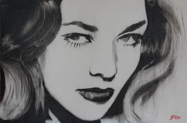 LAUREN BACALL (1999) - GREASE PENCIL ON PAPER