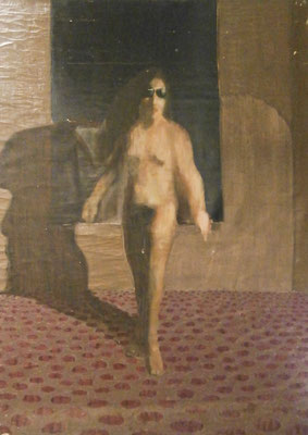 STANDING NUDE WOMAN WIT SUNGLASSES (1965) - OIL ON CANVAS