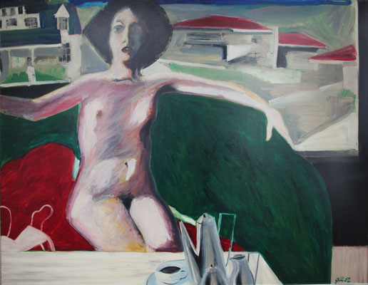 NUDE AT COFFEE TABLE (1962) - OIL ON BOARD