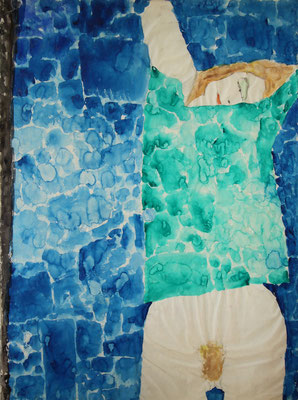 A STUDY INFLUENCED BY KLIMT (1960) - WATERCOLOR