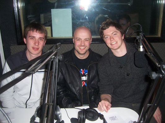 George Ritchie, Richard Ward, Daniel Holeyman @ Sussex County Hospital Radio - March 2011. Credit: Jonno Cox.