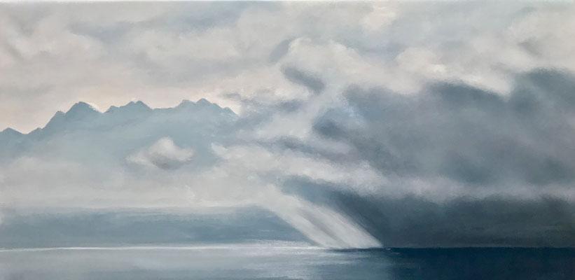 La fiancée de la pluie, 2017, huile sur toile, 50 x 100 cm CHF. 1'200.-