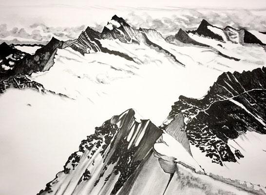 Fiers et sublimes sommets, 2019, encre de chine-stylo sur toile 70 x 50 cm CHF. 450.-