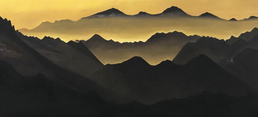 d'ombre et d'ocre, 2018, huile sur toile 58 x 125 cm