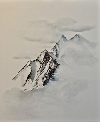Les gardiennes sacrées de l'âpre liberté, stylo-encre de chine-crayon-huile sur toile 50 x 60 cm CHF. 480.-