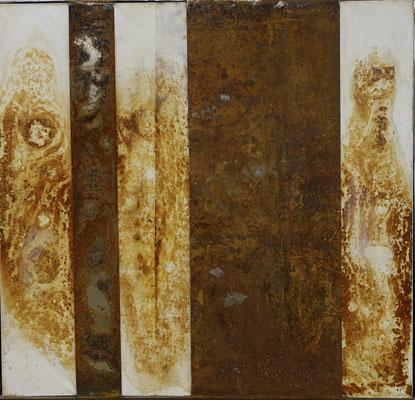 l'automne des corps, tech. mixte toile et métal , 116 x 110 cm CHF 2'200.-