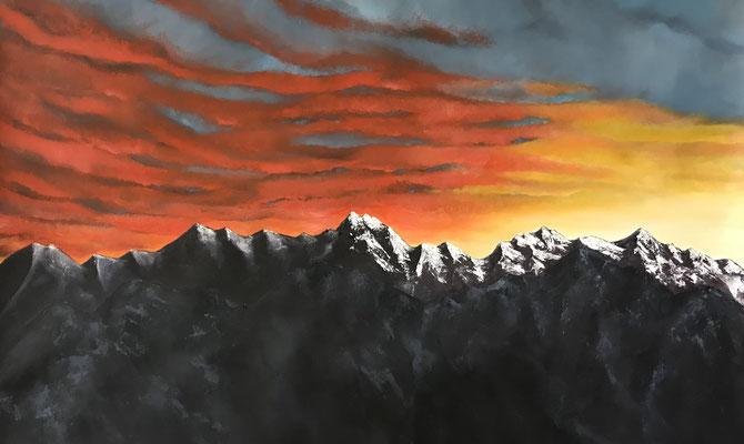 le crépuscule des dieux, 2018, huile sur toile, 80 x 125 cm